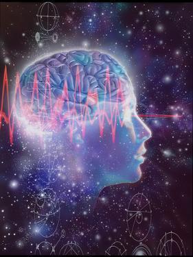 Artwork of Human Head with Brain & EEG Brainwaves by Mehau Kulyk