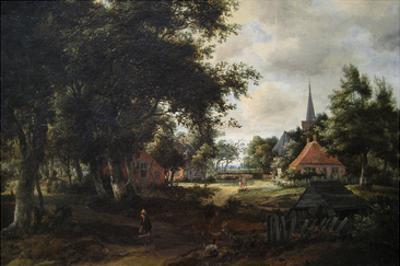 Entrance to a Village by Meindert Hobbema