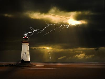 Lighthouse on Welsh Coast Struck by Lightning Bolt by meirion