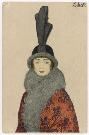 Woman Wears a Coat or Mantle in a Bold Oriental Print with a Deep Fur Border