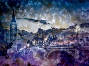 City-Art London Westminster Bridge At Sunset by Melanie Viola