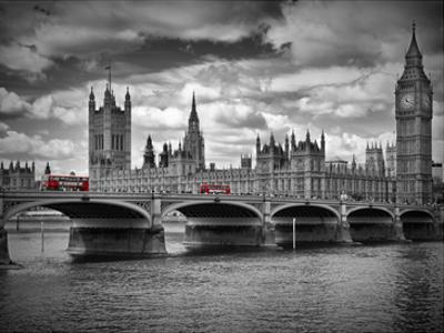 London Houses Of Parliament & Red Busses by Melanie Viola