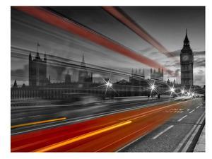 London Westminster Bridge & Red Bus by Melanie Viola