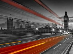 London Westminster Bridge & Red Bus by Melanie Viola