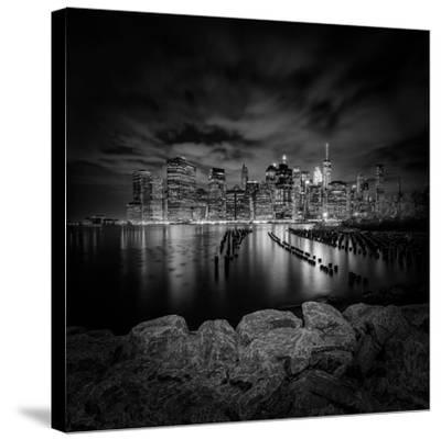 Manhattan Skyline Evening Atmosphere In New York City Monochrome by Melanie Viola