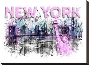 Modern Art New York City Skyline Splashes Pink by Melanie Viola