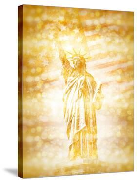 New York City Statue Of Liberty With American Banner Golden by Melanie Viola