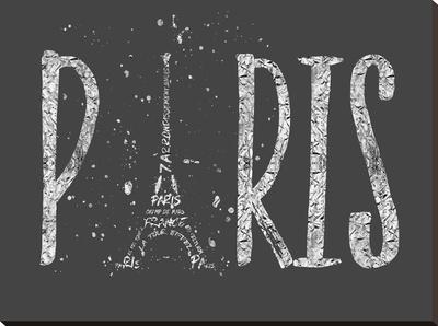 Paris Typography Grey Silver Splashes by Melanie Viola