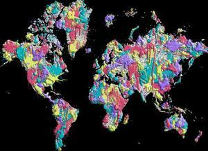 World Map Black Splashes by Melanie Viola