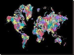 World Map Black Splashes by Melanie Viola