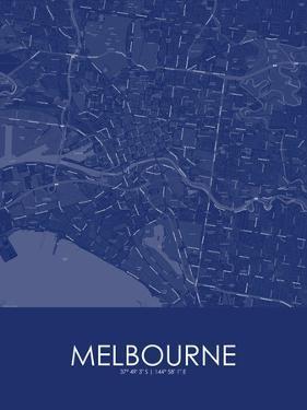 Melbourne, Australia Blue Map
