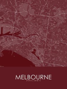 Melbourne, Australia Red Map