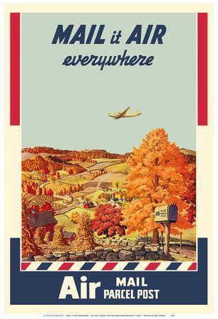 Mail It Air Everywhere - Air Mail Parcel Post - U. S. Postal Service