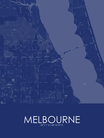 Melbourne, United States of America Blue Map