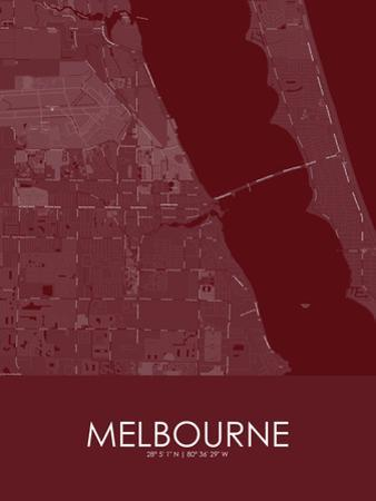 Melbourne, United States of America Red Map