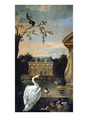 Gefluegel Im Hofe Eines Landhauses by Melchior d'Hondecoeter