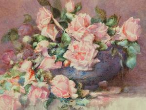 A Bowl of Pink Roses by Melicent Grose