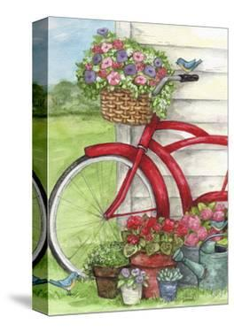 Bike With Birds And Flowers Flag by Melinda Hipsher