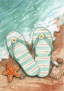 Flip Flops On The Beach Plain by Melinda Hipsher