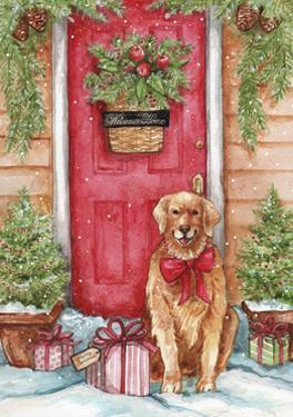 Golden at Christmas Door by Melinda Hipsher