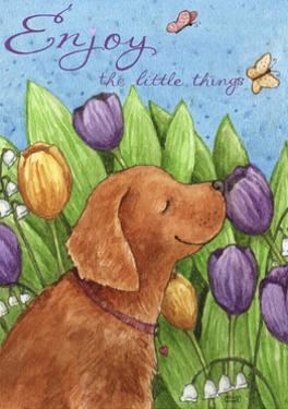 Golden Pup In Tulips Enjoy Little Things by Melinda Hipsher