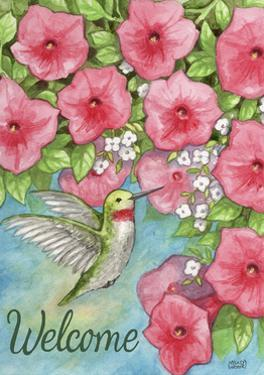 Hummingbird with Flowers Welcome by Melinda Hipsher