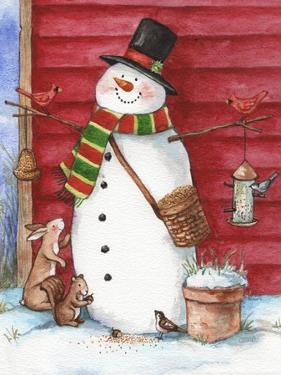 Red Barn Snowman with Friends by Melinda Hipsher