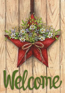 Red Barn Star Spring Welcome Green 3 by Melinda Hipsher