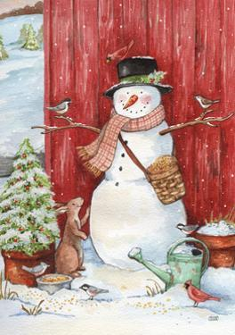 Snowman with Birds and Flurries by Melinda Hipsher
