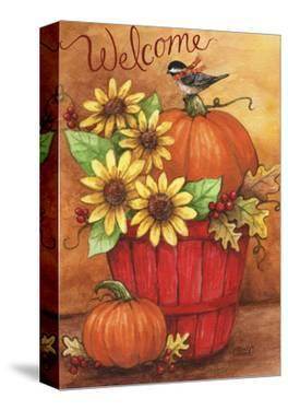 Sunflower And Pumpkin Red Basket Welcome 2 by Melinda Hipsher