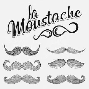 Hand Drawn Black Mustache Set by Melindula