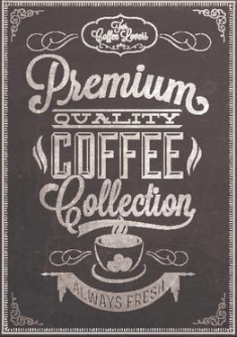 Premium Quality Coffee Collection Typography Background On Chalkboard by Melindula