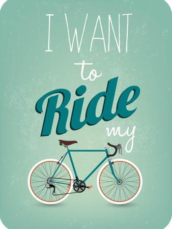 Retro Illustration Bicycle by Melindula