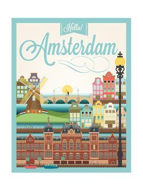 Retro Style Poster With Amsterdam Symbols And Landmarks by Melindula