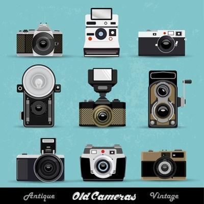 Set Of Vintage Cameras Background by Melindula