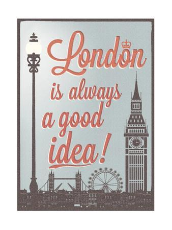 Typographical Retro Style Poster With London Symbols And Landmarks by Melindula