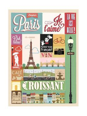 Typographical Retro Style Poster With Paris Symbols And Landmarks by Melindula