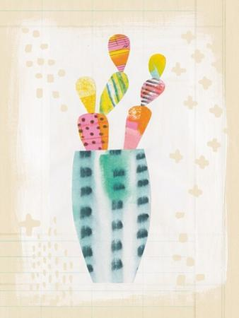Collage Cactus I on Graph Paper by Melissa Averinos