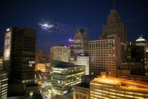 Downtown Detroit's Skyscrapers Touch the Night Sky by Melissa Farlow