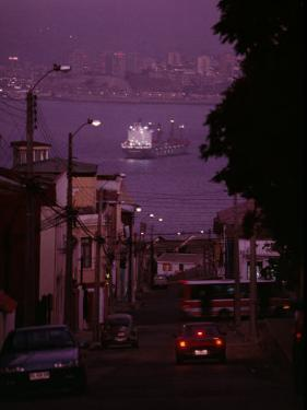 Twilight View of Valparaiso Harbor with Cargo Ship, and Skyline by Melissa Farlow