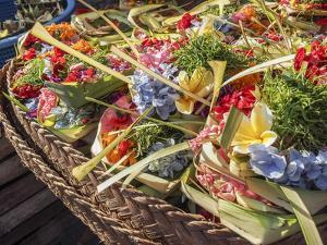 Offerings of flowers for sale, Denpasar, Bali, Indonesia, Southeast Asia, Asia by Melissa Kuhnell