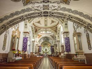 Painted interior of Santo Domingo church in the town of Ocotlan de Morelos, State of Oaxaca, Mexico by Melissa Kuhnell