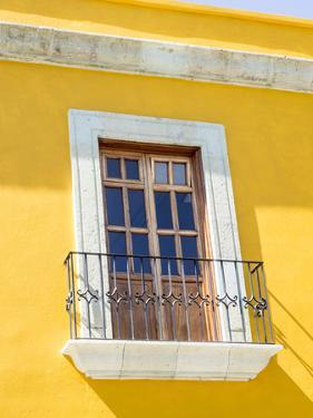 White window of yellow house, Oaxaca, Mexico, North America by Melissa Kuhnell