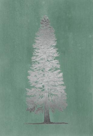 Silver Foil Pacific Northwest Tree I on Blue Green Wash by Melissa Wang