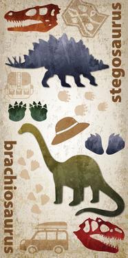 Dinosaur triptych 01 by Melody Hogan