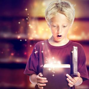 Happy Boy Opening A Gift Box by Melpomene