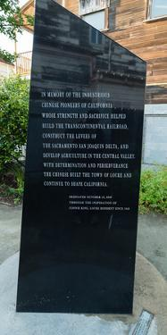 Memorial plaque Tribute to Chinese Pioneers at Chinese American Town, Locke