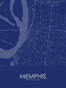 memphis united states of america blue map