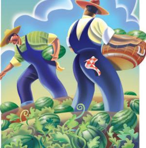 Men Harvesting Watermelons