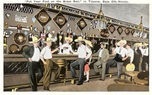 Men in Sombreros at Bar, Tijuana, Mexico